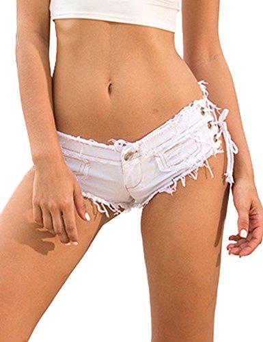 Minetom Denim Frauen Mädchen Sommer Quaste Party Nacht Club Ausgefranste Seil String Shorts Hotpants Damen Shorts Kurz Jeans Mini Low Waist Hose Kurzschlüsse Weiß DE 32/Taille 62CM (Distressed Jean Mini)