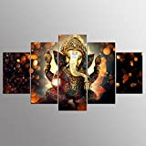 Printelligent Ganesha Split Painting / 5 Frames / Wall Art Panels For Living Room Wall Decor,(10 X 20 Inches)