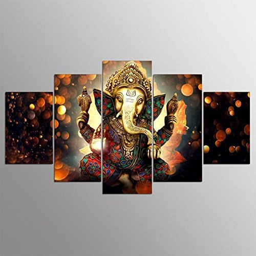 Printelligent Ganesha Split Painting / 5 Frames / Wall Art Panels For...