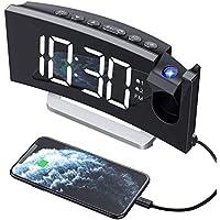 """Mpow Radio Despertador Digital Proyector, FM Radio Reloj Despertadores Digitales de Proyección,Alarma Dual con 4 Sonidos 3 Tono,Puerto USB,Pantalla LED 5""""& 6 Brillos,12/24 Hora,Snooze,Blanco"""