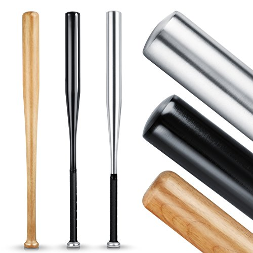 Heldenwerk Baseballschläger aus Holz oder Aluminium - Mit 31 Zoll auch zur Selbstverteidigung ideal - Solide verarbeitet (Schwarz (Aluminium), 31 Zoll)