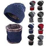 RANSENERS Wintermütze, stilvolle warme Mütze für Männer und Frauen, die Ihnen einen warmen Winter beschert., Dunkelblaue Streifen, Höhe: 30 cm, Umfang: 50 cm