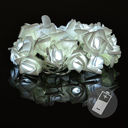 Rosenblütenkette 20 LED kalt weiß Lichterkette Blumen
