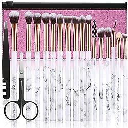 Make Up Pinsel Set DUAIU 16Pcs Premium Synthetic Lidschatten Pinsel Augenbrauen Eyeliner Blending Marmor Griff Pinsel Sets mit Pink Kosmetiktasche Augenbrauen Pinzette Nasenschere