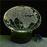 WangZJ 3d Nachtlicht Touch Tisch Schreibtischlampe / 7 Farbwechsel Optische Täuschung Lichter/Acryl Flach/abs Basis/Europa Karte Globus