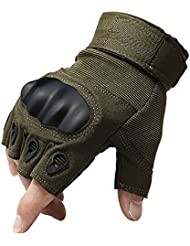 1 Pair Half Finger Fingerless Riding Cycling Gloves Anti Slip and Breathable for Motorcycle Bike Camping Hiking Cross Country (Army Green, M) by KT-SUPPLY
