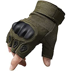 1 par de operaciones especiales guantes tácticos Shooting Paintball juego Airsoft guantes de protección CS combate sin duro nudillo para caza escalada Camping guantes equitación guantes de asalto verde Talla:XL