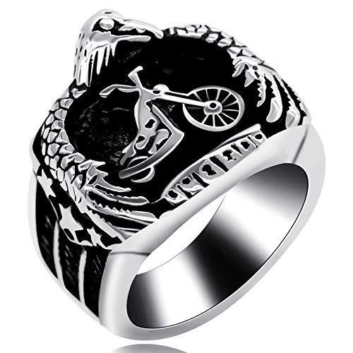 Uloveido Herren Cool rostfreier Stahl Motorrad Totem Ring Eagle Punk Biker Ring für Jungen Herren (62 (19.7))