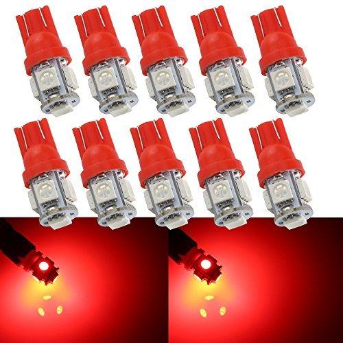 Grandview 10-Pack T10 501 W5W 194 168 Rouge 5-SMD 5050 LED intšŠrieur de la voiture, plaque de numšŠro, tableau de bord Boot Ampoules (12 V)