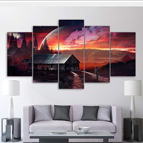 Wiwhy Wandkunst Rahmen Dekor Leinwand Bilder Home 5 Stücke Planet Fantasy Nacht Fantastische Gemälde Spektakuläre Scheune Poster Hd Print,20X35/45/55Cmwiwhy