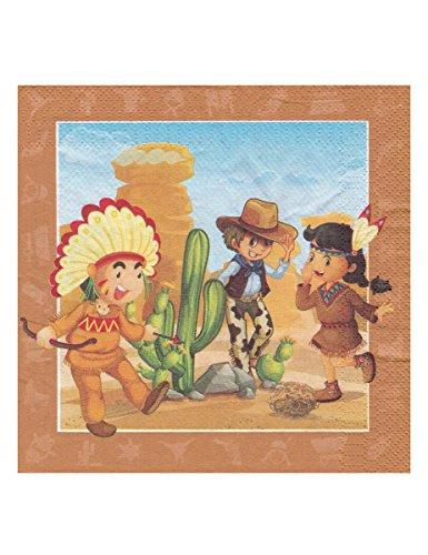 Generique - 20 Servietten mit Cowboy und Indianern