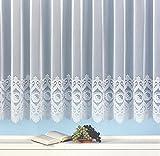 Fertig-Store Jacquard mit Kräuselband, halbtransparent, Farbe weiß Größe HxB 135x600 cm