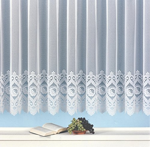 Fertig-Store Jacquard mit Kräuselband, halbtransparent, Farbe weiß Größe HxB 90x300 cm