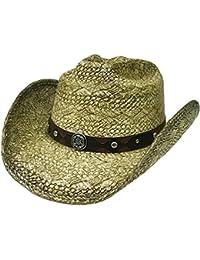 Modestone Straw Sombrero Vaquero Metal Concho Studs Hatband Khaki 45cad75d28b