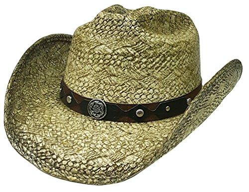 22502c8723867 Modestone Straw Chapeaux Cowboy Metal Concho Studs Hatband Khaki
