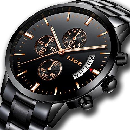 Herren Uhren Chronograph Wasserdicht Sport Analog Quarzuhr Männer Luxusmarke LIGE Fashion Business Armbanduhr Mann Schwarz Stahl Uhr