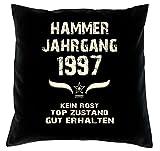 Geschenk zum 21. Geburtstag Hammer Jahrgang 1997 :-: Geburtstags Kissen Größe: 40x40cm Farbe: schwarz & Geburtstags-Urkunde