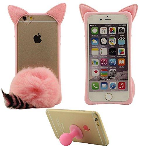 Apple iPhone 6S / 6 4.7 inch Custodia Protettiva – Nero, Morbida Villi animali Gattino Stile Forma Design Bellissimo Case con 1 Piccolo silicone Titolare Rosa