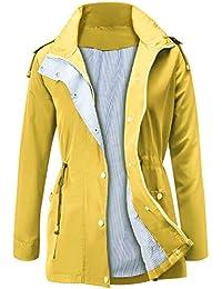 Manteau Imperméable Veste de Pluie Femme Poncho Pluie à Capuche Zippé Cape  de Pluie Manches Longues 46ae0c1f1d1