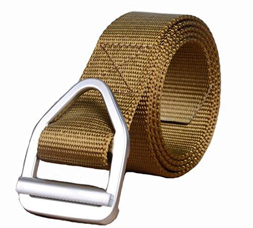 cinture marrone Web Yacn stile militare tattico per gli uomini Duty in nylon V-anello fibbia in metallo grigio scuro