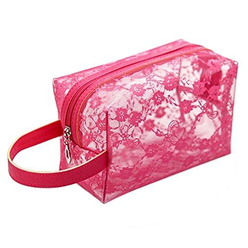 Transparent portables Pochettes de Maquillage Voyage Trousse,Rose Rouge