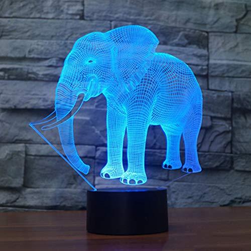 Novedad elefante 3D ilusión lámpara llevó la luz de la noche con 7 colores intermitente y interruptor táctil USB Powered dormitorio lámpara de escritorio para niños regalos decoración del hogar