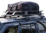 Gadgetzone Grand sac de toit, 340 L, noir, noir, pour toit de voiture, souple, résistant aux intempéries, pour une utilisation avec ou sans barres de toit.