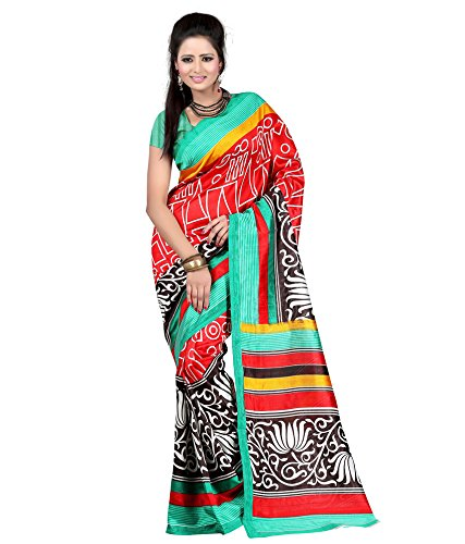 Women's Clothing Saree Designer Party Wear Buy Online in Low Price Sale Offers Red & Multi Color Art Silk Fabric Free Size Sari With Unstitched Blouse  available at amazon for Rs.259