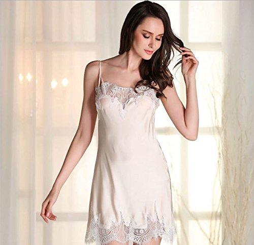 WDDGPZSY Nachthemd/Nachtwäsche/Schlafhemd/Homewear/Pyjamas/Hochwertige Frauen Spitze Spezielle Nachthemd Faux Seide Frauen Nachtwäsche Lounge, Champagner, XL -