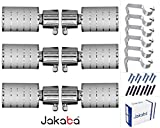 JAKABA Premium Quality Silver Finish Stainless Steel and Alloy Curtain Finials with Heavy Supports - PACK of 12 Pcs. (Finials : 6 Pcs + Supports : 6 Pcs) : Curtain Brackets Set / Holders for Window / Door - JKB1033SL