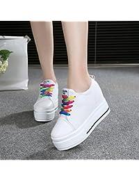 GTVERNH-10-12cm super - tacchi a spillo tela di scarpe più spessa basso muffin studenti attività ricreative sportive le donne 35 black