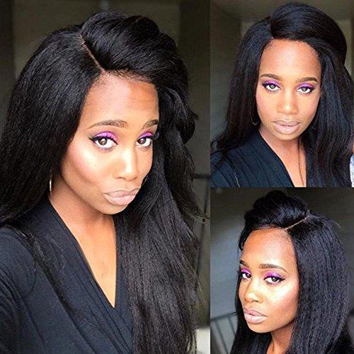 S-NOILITE 7A klebefreien vorne Lace Perücken brasilianisches Echthaar Afrodite Yaki Stil mit Baby Hair Lace Perücke Natural Black