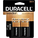Duracell CopperTop Alkaline Batteries, 9V, Pack Of 4 Batteries