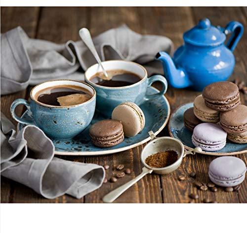 OKOUNOKO 1000 Teile Puzzle London Handgemalte Art des Kaffee-Kuchen-DIY Moderne Hauptkunst-Bild-Ausrüstungen Für Geschenk Hölzern Personalisiert Zusammenbauen Rätseln Rätselblock Spiele