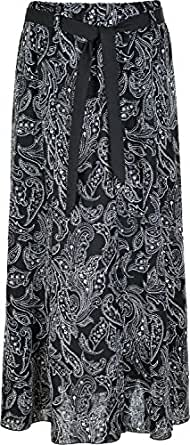 KENTEX Women's Long Gypsy Maxi Skirts in Linen Designer Ladies Skirt sizes 10 to 24 (10, BLACK)