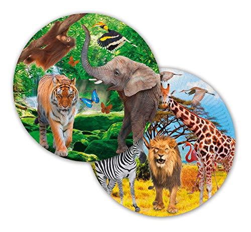 Folat NEU Teller Safari Party, Ø ca. 23 cm, 8 Stück (Einladungen Safari-geburtstags-party)