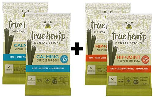 True Hemp Hanf für den Hund - 2 xTrue Hemp Calming Dental Sticks und 2X Hüfte & Gelenke Dental Sticks mit Hanf - getreidefrei (Bundle) (Getrocknete Kräuter-bundles)