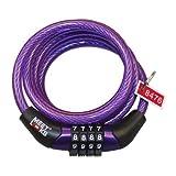 MEETLOCKS a spirale combinazione cavo di blocco per la bici, Valigia, Locker, Dia.8x1200mm (3.94ft) (L) Con codice Tag, codice non può cambiare, Colore Viola