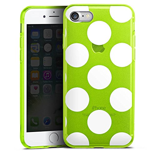 Apple iPhone 7 Silikon Hülle Case Schutzhülle Muster ohne Hintergrund Punkte Polka Dots Silikon Colour Case neon-grün