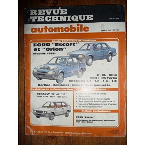RTA0477 - REVUE TECHNIQUE AUTOMOBILE FORD ESCORT et ORION C-CL-Ghia 1.1l-1.3l-1.4l-1.6l depuis 1986 Berline - Cabriolet - Break - Fourgonnette