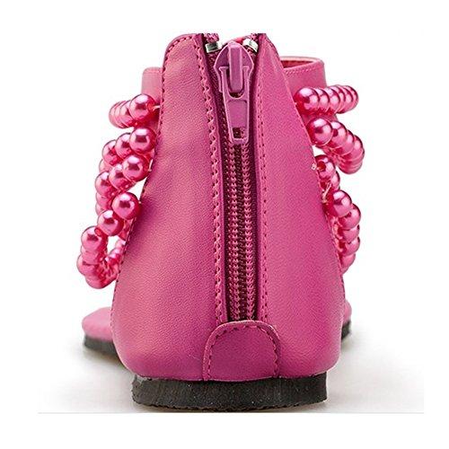 Donna Rhinestone Pantofole Sandali Boemo Stile Con Perline Clip Toe Scarpe Pink