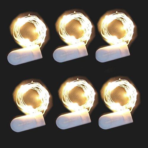 Luces LED de cuerda [6 piezas] Luz de Hadas Brillo Blanco cálido 7.2ft 20 Leds Luces Firefly Luces Estrelladas con Batería Operadas para la Fiesta de Casa Boda Acción de - De Halloween Decoraciones