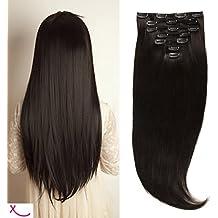 Extiff - Extensión, cabello natural liso, clip, máximo volumen, 60cm, 220g