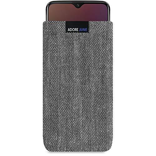 Adore June Business Tasche für OnePlus 6T & OnePlus 7 Handytasche aus charakteristischem Fischgrat Stoff - Grau/Schwarz | Schutztasche Zubehör mit Bildschirm Reinigungs-Effekt | Made in Europe