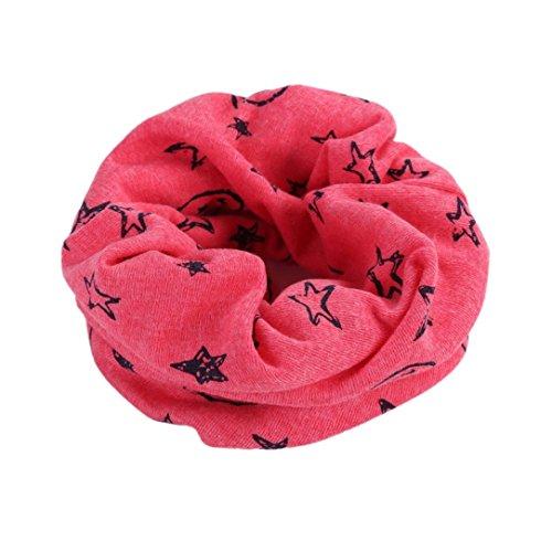 Kinder Warm Baumwollschal Unisex Junge Mädchen Super süße Schal Winter Star Halstuch Gemütlich Schlauchschal Kinderschal O-Ring Loopschal Halstücher (Pink)