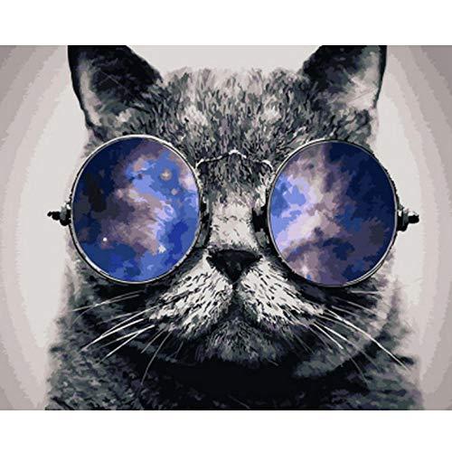 WaofeMalen Nach Zahlen Tiere Wanddekoration Diy Bild Ölgemälde Auf Leinwand Für WohnkulturSchwarze Katze Mit Brille- No Frame