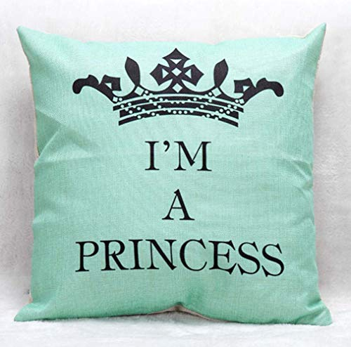 pillowcases Unique Elegant Simple I Am a Princess Crown LetteSquare Throw Pillow Case Cushion CoveDecorative with ZippefoHome Couch Decorations Light Green 18x18 Turquoise Pillow Cases