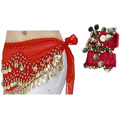 ReachTop 1pcs Cadena de la cintura + 1 par de reloj de cadena de la gasa de la danza del vientre en 3-capas, Rojo