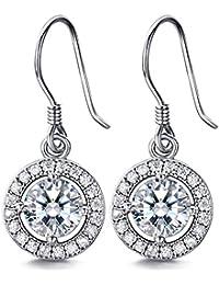 J.SHINE Damen Ohrhänger Hängende Tropfen Ohrringe Set 925 Sterling Silber mit 3A 6mm Zirkonia
