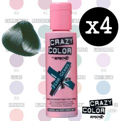 Crazy Colour Semi Permanent Haarfärbemittel Pine Green No.46 (100ml) Box of 4
